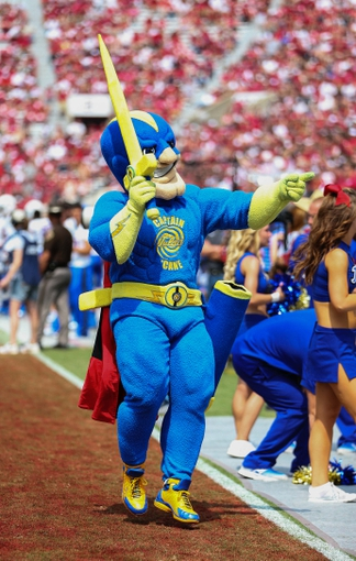 Sep 14, 2013; Norman, OK, USA; Tulsa Golden Hurricane mascot during the game against the Oklahoma Sooners at Gaylord Family - Oklahoma Memorial Stadium. Oklahoma won 51-20. Mandatory Credit: Kevin Jairaj-USA TODAY Sports