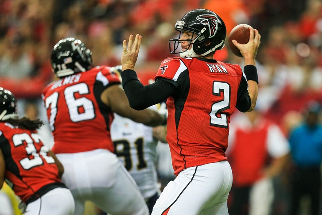 Sep 15, 2013; Atlanta, GA, USA; Atlanta Falcons quarterback Matt Ryan (2) throws a pass in the game against the St. Louis Rams at the Georgia Dome. The Falcons won 31-24. Mandatory Credit: Daniel Shirey-USA TODAY Sports