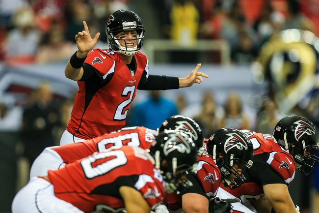 Sep 15, 2013; Atlanta, GA, USA; Atlanta Falcons quarterback Matt Ryan (2) makes a call at the line of scrimmage in the game against the St. Louis Rams at the Georgia Dome. The Falcons won 31-24. Mandatory Credit: Daniel Shirey-USA TODAY Sports