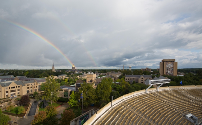 Sep 21, 2013; South Bend, IN, USA; A rainbow appears over the Notre Dame campus before the game between the Notre Dame Fighting Irish and the Michigan State Spartans at Notre Dame Stadium. Mandatory Credit: Matt Cashore-USA TODAY Sports
