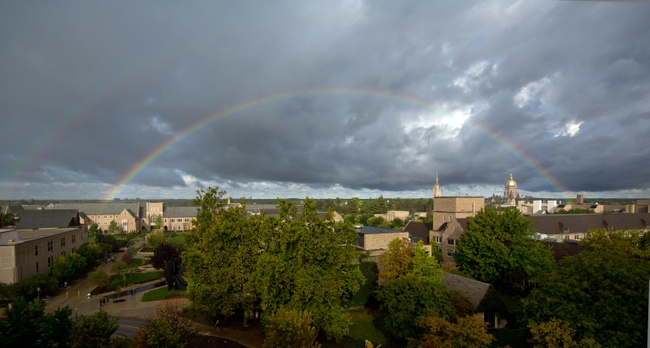 Sep 21, 2013; South Bend, IN, USA; A rainbow appears over the campus of the University of Notre Dame before the game between the Notre Dame Fighting Irish and the Michigan State Spartans at Notre Dame Stadium. Mandatory Credit: Matt Cashore-USA TODAY Sports