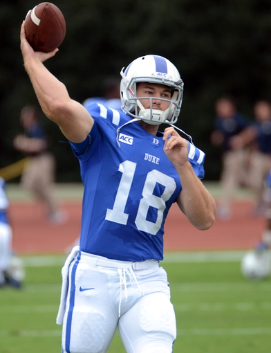Sep 21, 2013; Durham, NC, USA; Duke Blue Devils quarterback Brandon Connette (18) warms up prior to a game against the Pitt Panthers at Wallace Wade Stadium. Mandatory Credit: Rob Kinnan-USA TODAY Sports