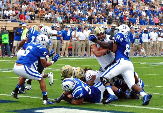 Sep 21, 2013; Durham, NC, USA;  Pitt Panthers running back James Conner (40) scores a touchdown during the first half against the Duke Blue Devils  at Wallace Wade Stadium. Mandatory Credit: Rob Kinnan-USA TODAY Sports