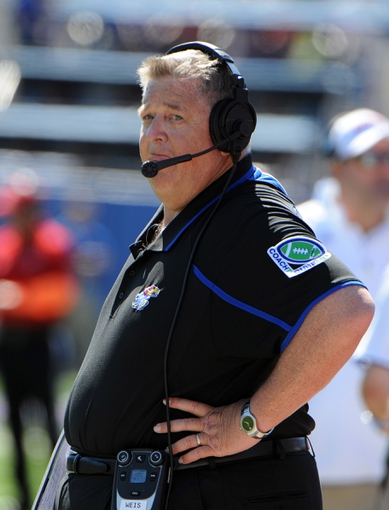Sep 21, 2013; Lawrence, KS, USA; Kansas Jayhawks head coach Charlie Weis on the sidelines against the Louisiana Tech Bulldogs in the first half at Memorial Stadium. Mandatory Credit: John Rieger-USA TODAY Sports