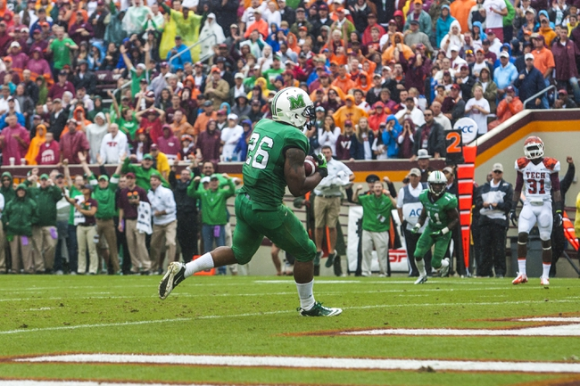 Sep 21, 2013; Blacksburg, VA, USA; Marshall Thundering Herd tight end Gator Hoskins (26) catches a touchdown pass during the first half against the Virginia Tech Hokies at Lane Stadium. Mandatory Credit: Peter Casey-USA TODAY Sports