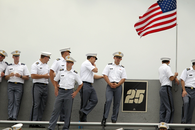 Sep 21, 2013; West Point, NY, USA;  West Point cadets look on during a break in the action as Army hosts Wake Forest at Michie Stadium. Mandatory Credit: Danny Wild-USA TODAY Sports