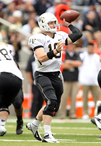 Sep 21, 2013; West Point, NY, USA;  Wake Forest Demon Deacons quarterback Tanner Price (10) passes the ball during the first half against the Army Black Knights at Michie Stadium. Mandatory Credit: Danny Wild-USA TODAY Sports