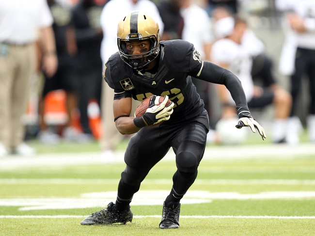 Sep 21, 2013; West Point, NY, USA; Army Black Knights wide receiver Xavier Moss (86) catches a pass during the first half against the Wake Forest Demon Deacons at Michie Stadium. Mandatory Credit: Danny Wild-USA TODAY Sports