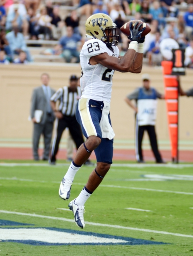 Sep 21, 2013; Durham, NC, USA;  Pitt Panthers receiver Tyler Boyd (23) scores a touchdown against the Duke Blue Devils during the first half at Wallace Wade Stadium. Mandatory Credit: Rob Kinnan-USA TODAY Sports