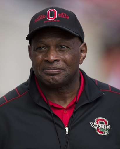 Sep 21, 2013; Columbus, OH, USA; Former Ohio State Buckeyes fullback and two-time Heisman trophy winner Archie Griffin waits on the sideline for a TV interview during the game against the Florida A&M Rattlers at Ohio Stadium. Ohio State won the game 76-0. Mandatory Credit: Greg Bartram-USA TODAY Sports