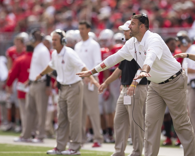 Sep 21, 2013; Columbus, OH, USA; Ohio State Buckeyes defensive line coach Mike Vrabel directs his defense against the Florida A&M Rattlers at Ohio Stadium. Ohio State won the game 76-0. Mandatory Credit: Greg Bartram-USA TODAY Sports