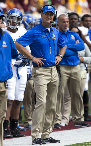 Sep 21, 2013; Minneapolis, MN, USA; San Jose State Spartans head coach Ron Caragher looks on from the sidelines during the second half against the Minnesota Golden Gophers at TCF Bank Stadium. The Gophers won 43-24. Mandatory Credit: Jesse Johnson-USA TODAY Sports