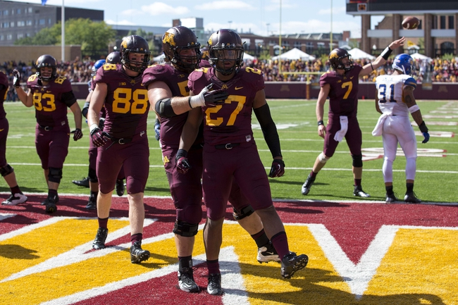 Sep 21, 2013; Minneapolis, MN, USA; Minnesota Golden Gophers running back David Cobb (27) celebrates with Minnesota Golden Gophers offensive lineman Zac Epping (52) after scoring a touchdown in the second half against the San Jose State Spartans at TCF Bank Stadium. The Gophers won 43-24. Mandatory Credit: Jesse Johnson-USA TODAY Sports