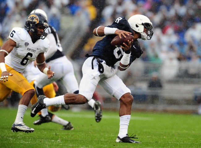 Sep 21, 2013; University Park, PA, USA; Penn State Nittany Lions wide receiver Allen Robinson (8) catches a pass in front of Kent State Golden Flashes safety Keenan Stalls (6) at Beaver Stadium. Mandatory Credit: Evan Habeeb-USA TODAY Sports