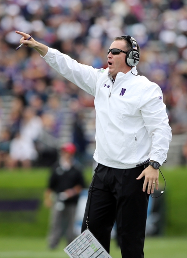 Sep 21, 2013; Evanston, IL, USA; Northwestern Wildcats head coach Pat Fitzgerald during the first quarter against the Maine Black Bears at Ryan Field.  Mandatory Credit: Jerry Lai-USA TODAY Sports