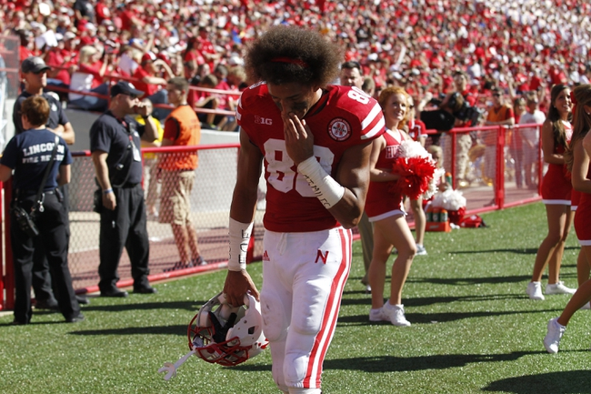 Sep 21, 2013; Lincoln, NE, USA; Nebraska Cornhuskers receiver Kenny Bell (80)leaves the field during the game against the South Dakota State Jackrabbits in the second quarter at Memorial Stadium. Mandatory Credit: Bruce Thorson-USA TODAY Sports