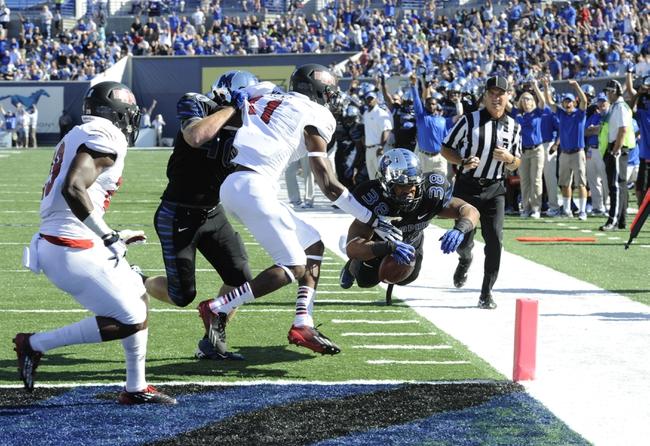 Sep 21, 2013; Memphis, TN, USA; [CAPTION] Memphis Tigers running back Brandon Hayes (38) dives for a touchdown at Liberty Bowl Memorial. Mandatory Credit: Justin Ford-USA TODAY Sports