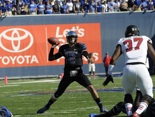 Sep 21, 2013; Memphis, TN, USA; DUPLICATE***Memphis Tigers quarterback Paxton Lynch (12) at Liberty Bowl Memorial. Mandatory Credit: Justin Ford-USA TODAY Sports