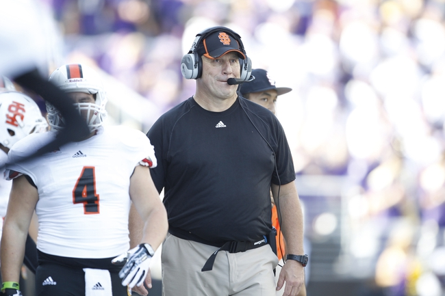 Sep 21, 2013; Seattle, WA, USA; Idaho State head coach Mike Kramer walks the sidelines during the third quarter against the Washington Huskies at Husky Stadium. Mandatory Credit: Joe Nicholson-USA TODAY Sports