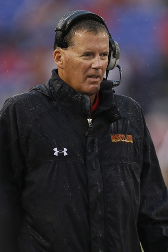 Sep 21, 2013; Baltimore, MD, USA; Maryland Terrapins head coach Randy Edsall watches the game against the West Virginia Mountaineers at M&T Bank Stadium. Mandatory Credit: Mitch Stringer-USA TODAY Sports
