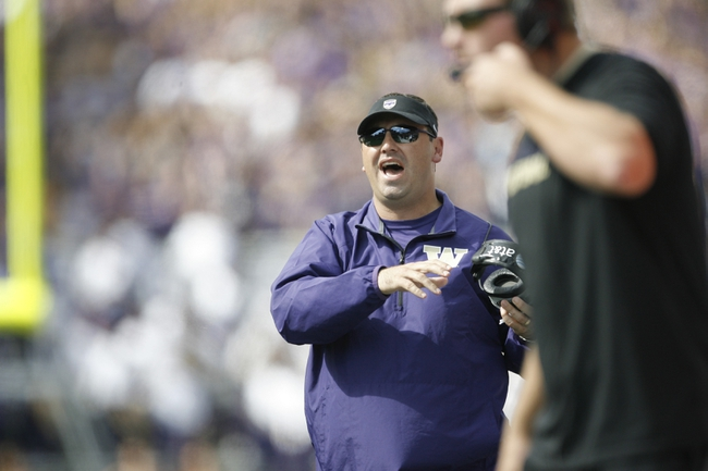 Sep 21, 2013; Seattle, WA, USA; Washington Huskies head coach Steve Sarkisian reacts to a penalty called in favor of the Idaho State Bengals during the second quarter of a 56-0 Washington victory at Husky Stadium. Mandatory Credit: Joe Nicholson-USA TODAY Sports