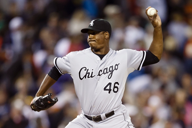 Sep 21, 2013; Detroit, MI, USA; Chicago White Sox relief pitcher Donnie Veal (46) pitches in the ninth inning against the Detroit Tigers at Comerica Park. Mandatory Credit: Rick Osentoski-USA TODAY Sports