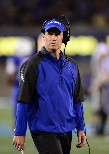 Sep 21, 2013; Colorado Springs, CO, USA; Air Force Falcons head coach Troy Calhoun during the game against the Wyoming Cowboys at Falcon Stadium. Mandatory Credit: Ron Chenoy-USA TODAY Sports