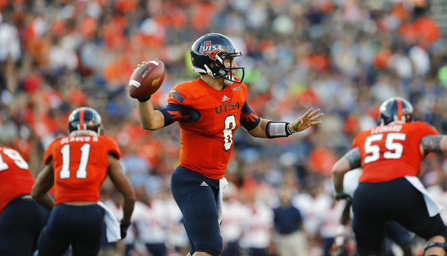 Sep 21, 2013; El Paso, TX, USA; UTSA Roadrunners quarterback Eric Soza (8) drops back to pass against the UTEP Miners during the first half at Sun Bowl Stadium. The Roadrunners defeated the Miners 32-13. Mandatory Credit: Ivan Pierre Aguirre-USA TODAY Sports
