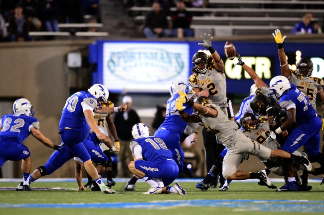 Sep 21, 2013; Colorado Springs, CO, USA; Air Force Falcons kicker Will Conant (30) misses a forty four yard field goal attempt against the Wyoming Cowboys in the third quarter at Falcon Stadium. The Cowboys defeated the Falcons 56-23. Mandatory Credit: Ron Chenoy-USA TODAY Sports