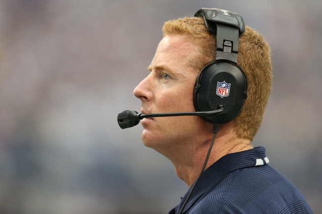 Sep 22, 2013; Arlington, TX, USA; Dallas Cowboys head coach Jason Garrett on the sidelines during the fourth quarter against the St. Louis Rams at AT&T Stadium. The Dallas Cowboys beat St. Louis Rams 31-7. Mandatory Credit: Matthew Emmons-USA TODAY Sports