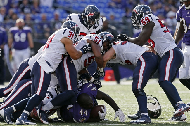 Sep 22, 2013; Baltimore, MD, USA; Baltimore Ravens fullback Vonta Leach (44) loses his helmet during a fourth quarter run against the Houston Texans at M&T Bank Stadium. Mandatory Credit: Mitch Stringer-USA TODAY Sports