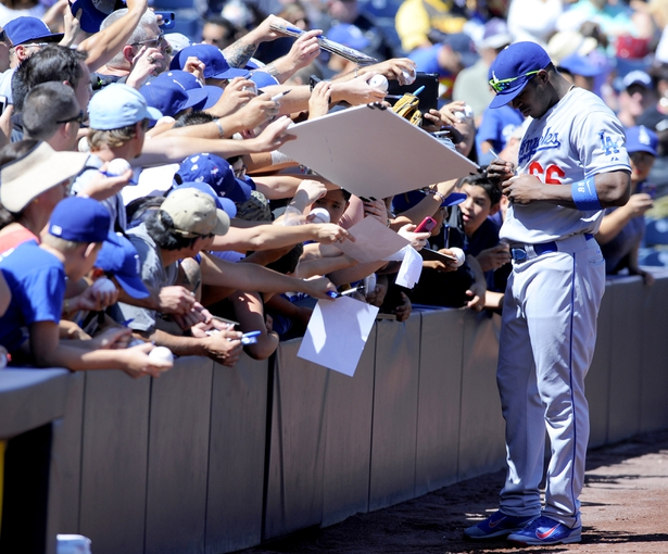 Sep 22, 2013; San Diego, CA, USA; Los Angeles Dodgers right fielder Yasiel Puig (66) prior to the game against the San Diego Padres at Petco Park. Mandatory Credit: Christopher Hanewinckel-USA TODAY Sports