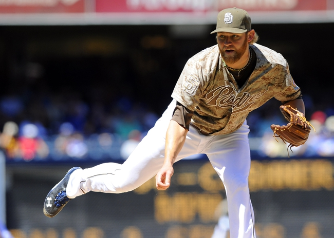 Sep 22, 2013; San Diego, CA, USA; San Diego Padres starting pitcher Andrew Cashner (34) throws during the first inning against the Los Angeles Dodgers at Petco Park. Mandatory Credit: Christopher Hanewinckel-USA TODAY Sports