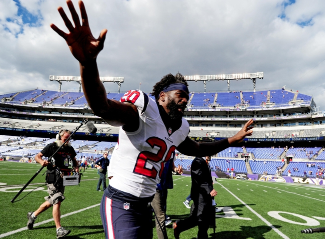 Sep 22, 2013; Baltimore, MD, USA; Houston Texans safety Ed Reed (20) waves to the crowd after the Baltimore Ravens defeated the Houston Texans 30-9 at M&T Bank Stadium. Mandatory Credit: Evan Habeeb-USA TODAY Sports