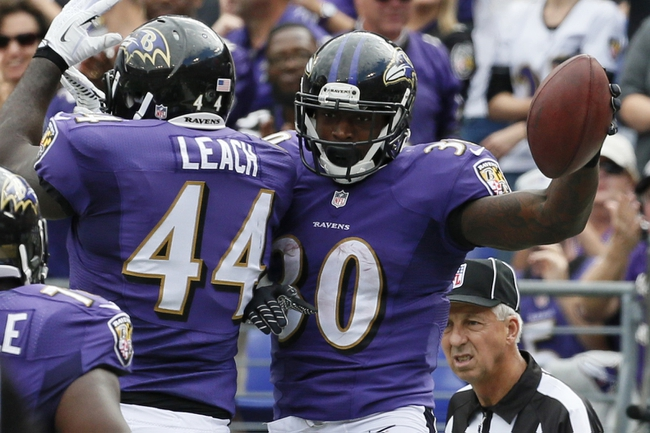 Sep 22, 2013; Baltimore, MD, USA; Baltimore Ravens running back Bernard Pierce (30) celebrates his touchdown run with fullback Vonta Leach (44) during the game against the Houston Texans at M&T Bank Stadium. Mandatory Credit: Mitch Stringer-USA TODAY Sports