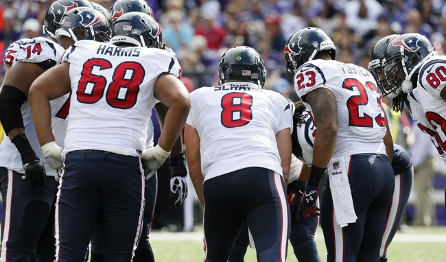 Sep 22, 2013; Baltimore, MD, USA; Houston Texans quarterback Matt Schaub (8) leads the offensive huddle against the Baltimore Ravens at M&T Bank Stadium. Mandatory Credit: Mitch Stringer-USA TODAY Sports