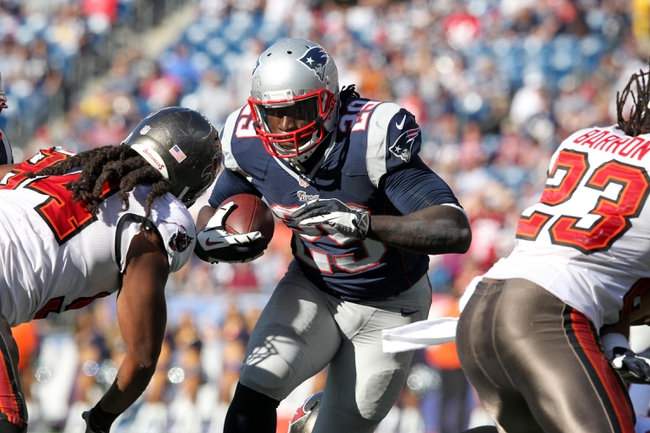 Sep 22, 2013; Foxborough, MA, USA; New England Patriots running back LeGarrette Blount (29) runs the ball against the Tampa Bay Buccaneers during the fourth quarter of a game at Gillette Stadium. The Patriots defeated the Buccaneers 23-3. Mandatory Credit: Brad Penner-USA TODAY Sports