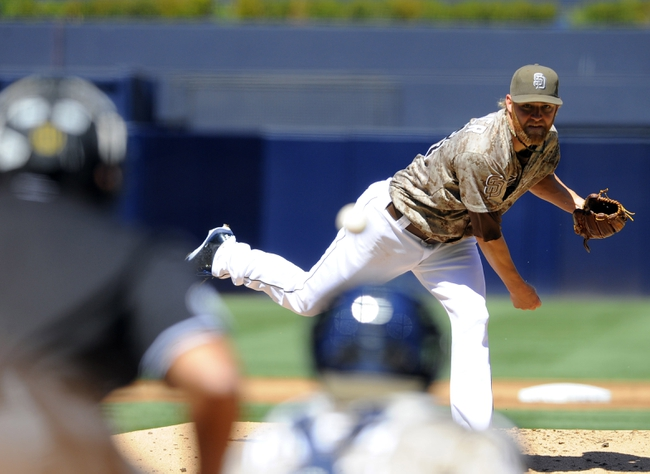 Sep 22, 2013; San Diego, CA, USA; San Diego Padres starting pitcher Andrew Cashner (34) throws during the second inning against the Los Angeles Dodgers at Petco Park. Mandatory Credit: Christopher Hanewinckel-USA TODAY Sports