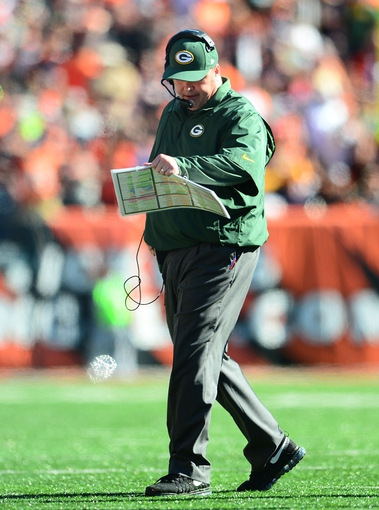 Sep 22, 2013; Cincinnati, OH, USA; Green Bay Packers head coach Mike McCarthy on the sidelines during the third quarter against the Cincinnati Bengals at Paul Brown Stadium. Mandatory Credit: Andrew Weber-USA TODAY Sports