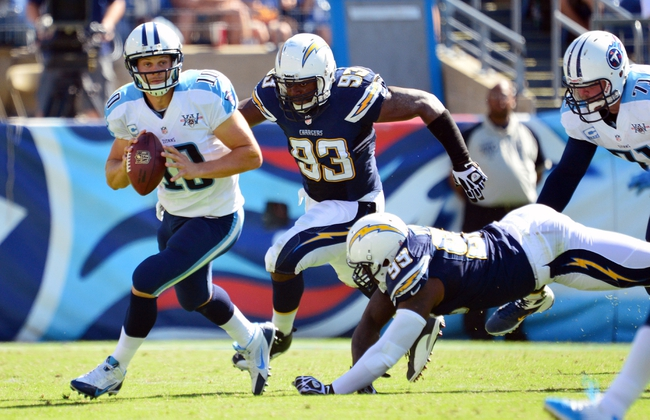 Sep 22, 2013; Nashville, TN, USA; Tennessee Titans quarterback Jake Locker (10) scrambles from the pocket against the San Diego Chargers during the second half at LP Field. The Titans beat the Chargers 20-17. Mandatory Credit: Don McPeak-USA TODAY Sports