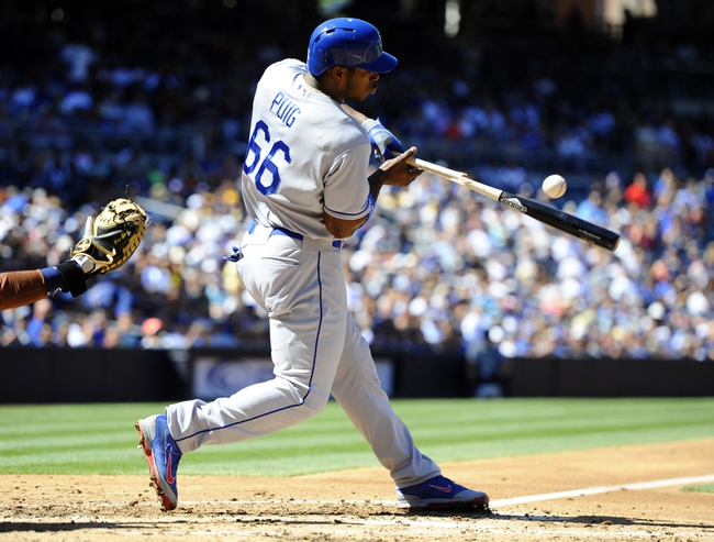 Sep 22, 2013; San Diego, CA, USA; Los Angeles Dodgers right fielder Yasiel Puig (66) breaks his bat on an infield out during the third inning against the San Diego Padres at Petco Park. Mandatory Credit: Christopher Hanewinckel-USA TODAY Sports