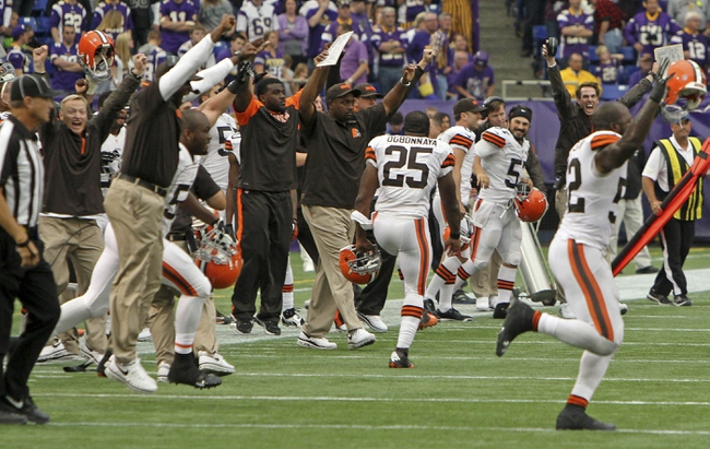 Sep 22, 2013; Minneapolis, MN, USA; The Cleveland Browns celebrate following the game against the Minnesota Vikings at Mall of America Field at H.H.H. Metrodome. The Browns defeated the Vikings 31-27. Mandatory Credit: Brace Hemmelgarn-USA TODAY Sports