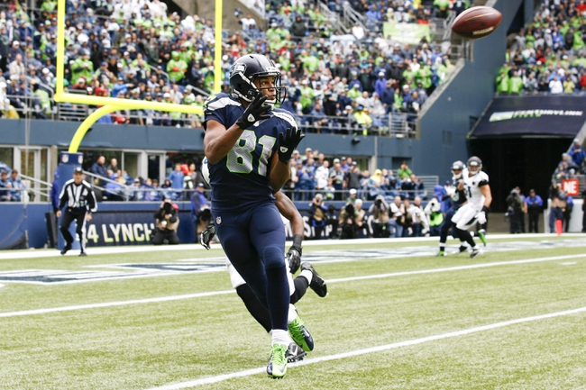 Sep 22, 2013; Seattle, WA, USA; Seattle Seahawks wide receiver Golden Tate (81) catches a pass against the Jacksonville Jaguars during the second quarter at CenturyLink Field. Mandatory Credit: Joe Nicholson-USA TODAY Sports
