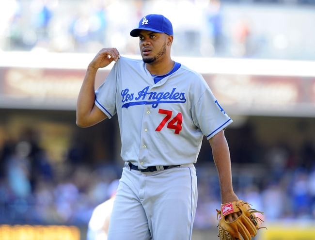 Sep 22, 2013; San Diego, CA, USA; Los Angeles Dodgers relief pitcher Kenley Jansen (74) after pitching a scoreless ninth inning against the San Diego Padres at Petco Park. The Dodgers won 1-0. Mandatory Credit: Christopher Hanewinckel-USA TODAY Sports