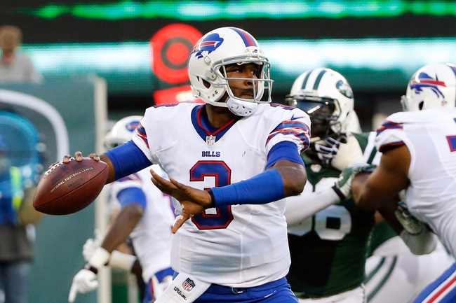 Sep 22, 2013; East Rutherford, NJ, USA; Buffalo Bills quarterback EJ Manuel (3) throws a pass during the third quarter against the New York Jets at MetLife Stadium. Mandatory Credit: Anthony Gruppuso-USA TODAY Sports