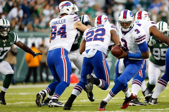 Sep 22, 2013; East Rutherford, NJ, USA;  Buffalo Bills quarterback EJ Manuel (3) during the third quarter against the New York Jets at MetLife Stadium. Mandatory Credit: Anthony Gruppuso-USA TODAY Sports