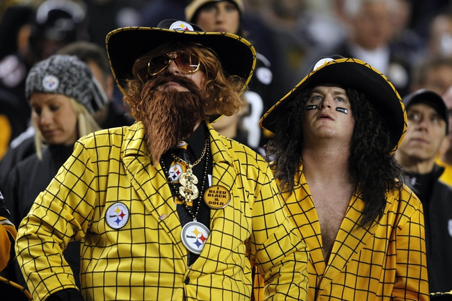 Sep 22, 2013; Pittsburgh, PA, USA; Pittsburgh Steelers fans look on against the Chicago Bears during the fourth quarter at Heinz Field. The Bears won 40-23. Mandatory Credit: Charles LeClaire-USA TODAY Sports