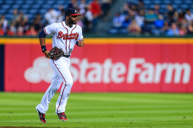Sep 23, 2013; Atlanta, GA, USA; Atlanta Braves right fielder Jason Heyward (22) runs back to the dugout in the first inning against the Milwaukee Brewers at Turner Field. Mandatory Credit: Daniel Shirey-USA TODAY Sports