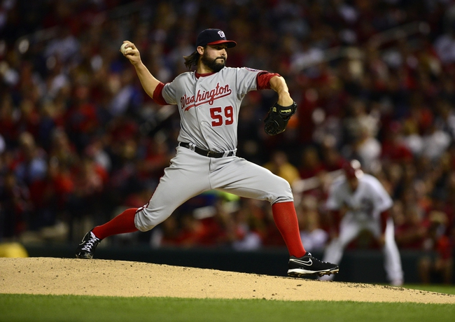 Sep 23, 2013; St. Louis, MO, USA; Washington Nationals starting pitcher Tanner Roark (59) throws to a St. Louis Cardinals batter during the second inning at Busch Stadium. Mandatory Credit: Jeff Curry-USA TODAY Sports