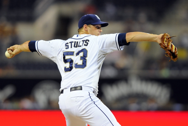 Sep 23, 2013; San Diego, CA, USA; San Diego Padres starting pitcher Eric Stults (53) throws during the first inning against the Arizona Diamondbacks at Petco Park. Mandatory Credit: Christopher Hanewinckel-USA TODAY Sports